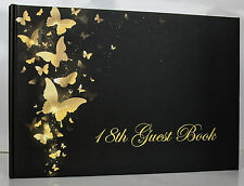 Happy18th Birthday Party Guest Book for Girl | Black gold butterfly | Keepsake