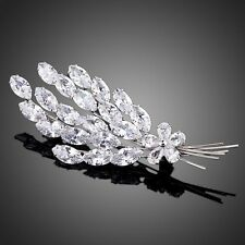 New Sparkly Genuine Clear White Zircon Silver Colour Leaf Design Brooch Pin Gift