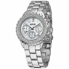 August Steiner Women's As8031ss Crystal Mother-of-pearl Chronograph Bracelet Wat