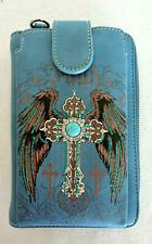 FAITH with Wings and Cross Blue Cell Phone Wallet/Crossbody Montana West