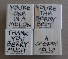 2001 New Stampin Up Fruity Phrases Hello Thank You The Best 4pc Rubber Stamp Set