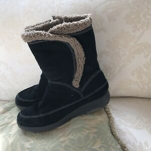 Easy Spirit Black Suede Leather Ankle Boots Womens Shoes Size 7