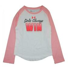 Under Armour Girls White & Pink Girls Always Win Top Size 5