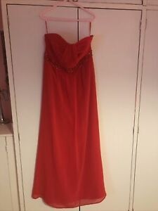 BNWT Monsoon 100% Silk Maxi Dress Embellished Red -Size 16-Xmas.Removable Straps