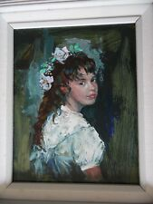 All Dressed Up, Portrait of a Girl by Frank Palmieri. Listed. Gallery Provenance