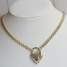 """9K Yellow Gold Filled Necklace Euro Chain With Heart Locket """"Stamp 9K"""""""