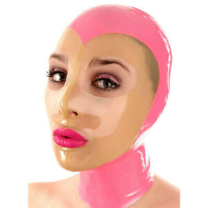 Unisex Transparent Facial Latex Hood Mask Catsuit Back Zipper Cosplay Mask Party