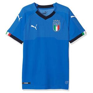 PUMA Italy Kids Blue FIGC Italia Replica Jersey Childrens Home Football Shirt