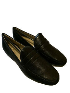Enzo Angiolini Womens Loafers Sz 7.5 Tazlin Black Cracked Leather