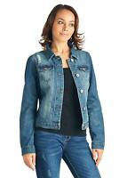 Women's Juniors Premium Stretch Denim Long Sleeve Ripped Jacket