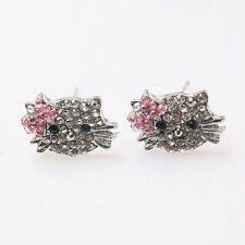 10 Pair Clear Pink Crystal Hello kitty Earrings Stud Earbob charms MD0001