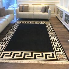 Exklusiver Mäander Medusa Teppich Schwarz K-Seide Meander Carpet Rug versac