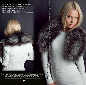Classic fur collar 4 women - Russian Silver fox, quilted lining / Made in Russia