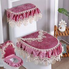3pcs/set Pleuche Toilet Seat Cover Lace Bathroom Lid Protect Pads Close Stool
