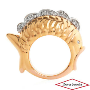 Estate Diamond 14K Gold Koi Fish Fin Ring NR