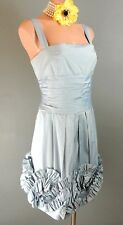 BCBG Blue CUTE Cocktail Formal 10/ L Dress Ruffled Skirt Wedding Party *1008