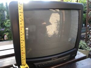 Matsui 1408R 12 Inch CRT TV Black Retro Vintage Gaming Fully Working No Control