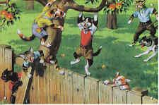 MAINZER ANTHROPOMORPHIC CATS picking apples on metal