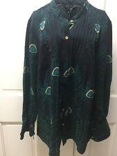 100% Silk Peacock Blouse Top Shirt by Nora Landa Large Black Teal Green