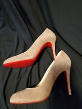 NEW Christian Louboutin Fifi 80 Beige suede Pumps (Size 37) - MSRP $695.00!