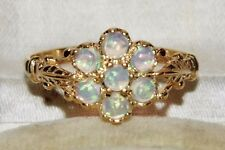 Antique 9ct Yellow Gold & Silver Opal Cluster Ring - size O