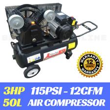 AIR COMPRESSOR 3HP Electric Motor Belt Driven 50L TANK 12 months Warranty