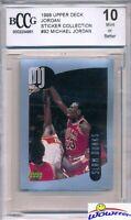1998 Upper Deck #92 Michael Jordan Sticker BECKETT 10 MINT Bulls HOF