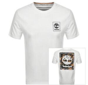 Mens Timberland White Camo T Shirt Black Logo  S M L XL XXL