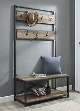Rustic Oak Metal Wooden Hall Tree Coat Rack Hooks Storage Stand Entryway Bench