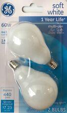 2 GE 60-Watt Frosted White A15 Light Bubs w/Candelabra Base - 440 Lumens - NEW