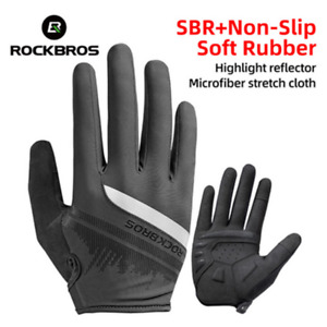 ROCKBROS Touch Screen Cycling Gloves Spring Autumn Bike Gloves Shockproof Black