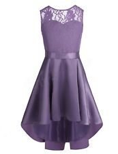Kids Flower Girl Dress Lace High-low Hem Dresses Bridesmaid Wedding Party Gowns