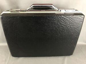 Vintage American Tourister Textured Black Hard Shell Attache Briefcase W/ 4 Keys