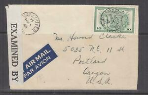 CANADA, 1942 Airmail Express censored cover, 10c. Special Delivery to Oregon.