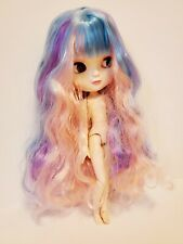 "New 12"" Icy Blythe Doll Nude Joint Body Long Colorful Hair White Shiny Face"