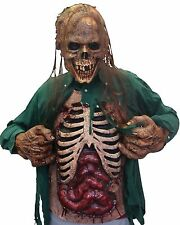 COMPLETE FLESH EATER ZOMBIE COSTUME! MASK, HANDS & CHEST PIECE! HALLOWEEN SCARY
