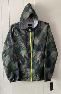 NWT Matix Army Green Black Tropical Leaf Print Hooded Windbreaker Jacket Size M