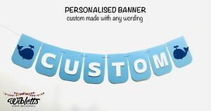 UNDER THE SEA CREATURES WHALE THEME BIRTHDAY PARTY PERSONALISED CUSTOM BANNER