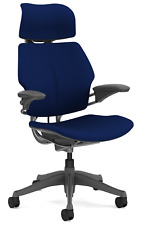 HumanScale Freedom F211 Navy Blue Wave Fabric Titanium Frame Office Desk Chair