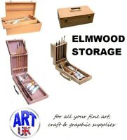 Artists Elm WOODEN STORAGE BOX paint brushes mediums colour tubes folding travel