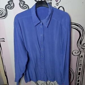 Size 16 Purple SILK Long Sleeve Shirt Bouse Top