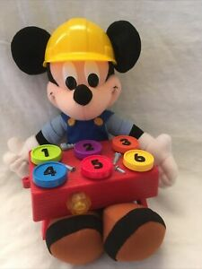 VERY RARE Fisher-Price 2000 Talking Mickey Mouse Learning Toy Hard Hat Plush