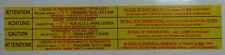 CITROEN ax gt ou autres modèles étiquette pour sous capot fournisseur britannique