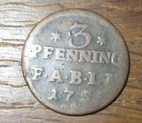 1753 (?) Anhalt Bernburg / 3 Pfenning F.A.B.L.M. - Kupfer Umlaufgeld
