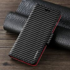 For Samsung Galaxy Carbon Fibre Wallet Flip Case Card Slim Leather Phone Cover