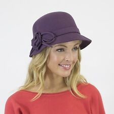 PURPLE Plum Vintage Gatsby Style 57cm Ladies Felt Wool Cloche Formal WINTER HAT