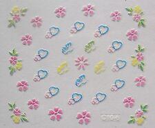 Accessoire ongles nail art -Stickers autocollants- fleurs, coeurs et papillons
