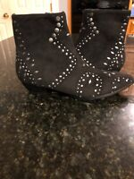 Free People Coconuts Studded Ankle Boots, Black Vegan Suede Zip 7.5 NEW