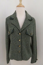 ST JOHN Collection Houndstooth tweed boucle Blazer Jacket sz 10 Logo buttons