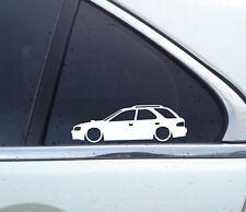 2x Lowered car outline stickers - for Subaru Impreza WRX wagon GF8 (no wing)